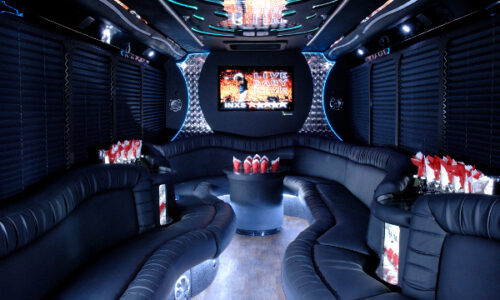 18 people Amsterdam party bus interior