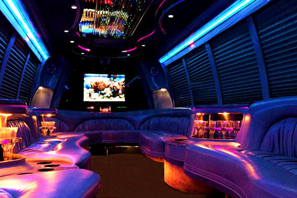 18 people party bus rental Blodgett Mills